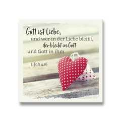 Keramikfliese - Herzen...Gott ist Liebe...
