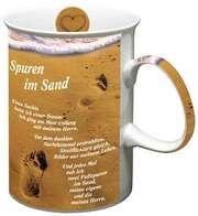 Foto-Tasse: Spuren im Sand
