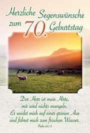 Faltkarte: Herzliche Segenswünsche zum 70. Geburtstag - Geburtstag