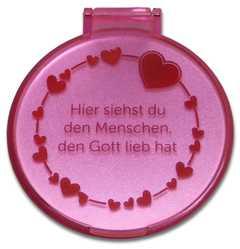 "Taschenspiegel ""Herzen"" - rosa"